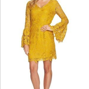Cynthia Steffe Yellow Bell Sleeved Lace Mini Dress